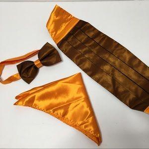 Orange & Black Bow tie Set